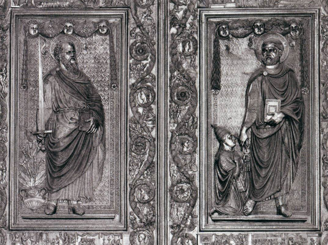 03 Ss. Peter and Paul - central doors of St. Peter\u0027s by Filarete & Doors Saint Paul and Saint Peter handing the keys to Pope Eugenius ...